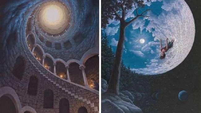 Картины канадского художника меняются в зависимости от ракурса (11 фото)