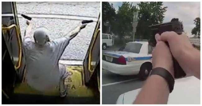 Новый экшн из США! Вооруженный двумя пистолетами уголовник устроил перестрелку с полицейскими (3 фото + 2 видео)