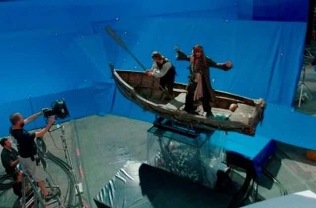 Секретные кадры с фильма «Пираты Карибского моря» до применения спецэффектов
