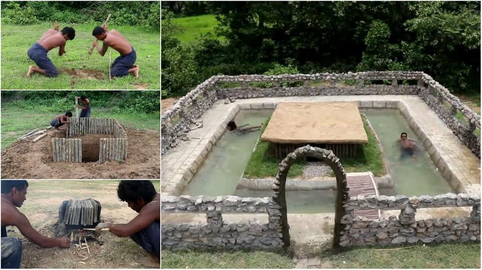 Два камбоджийца построили домик с бассейном всего за две недели, используя подручные материалы