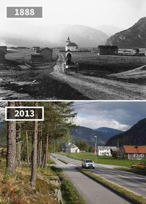 Фотографии «до и после», показывающие, как с течением времени изменился мир (26 фото)