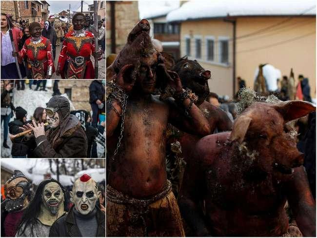 Свастика, зомби и скелеты: причудливый карнавал в македонской деревне