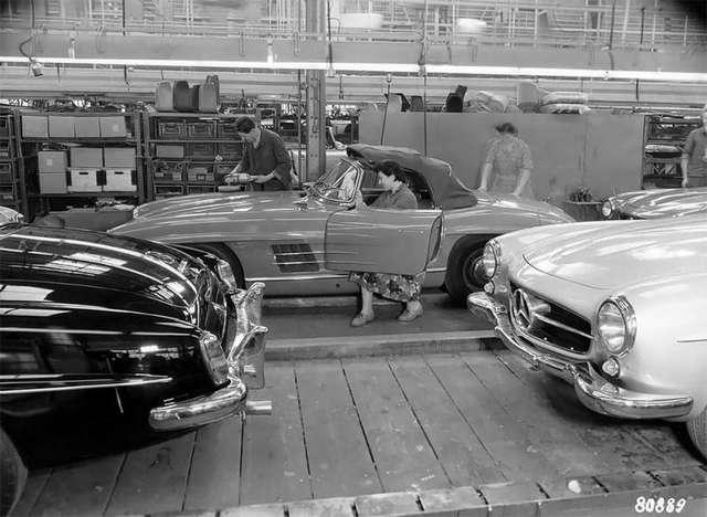 Линия сборки Mercedes-Benz 190 SL на фото 1958 года