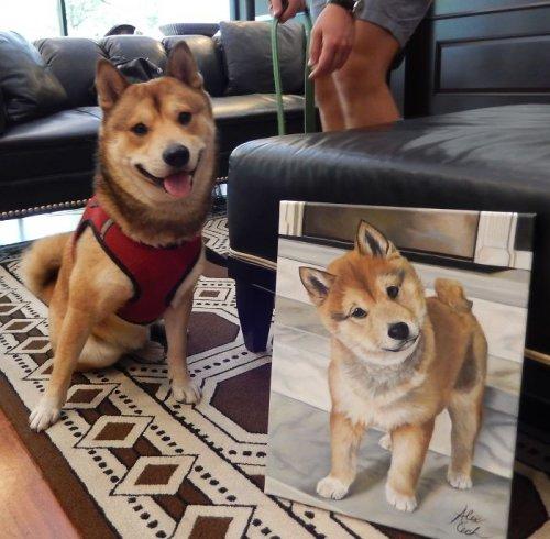 Художница пишет портреты домашних животных, и вот несколько готовых работ рядом с довольными «заказчиками» (10 фото)