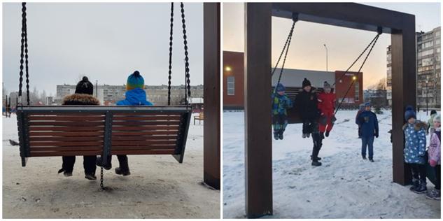 В Архангельске построили качели, на которых теперь нельзя качаться (4 фото)